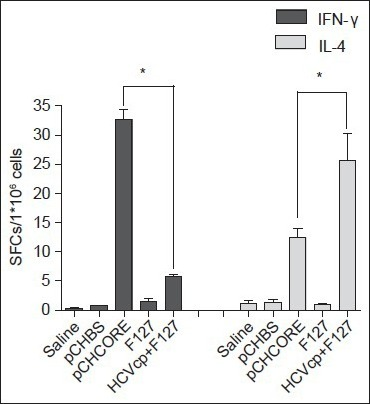 Enzyme-linked-immunospot assays. Mouse Elispot kit (Mabtech, Sweden) was used for detection of class I-binding C39 peptide specific IFN-γ and IL-4-releasing T cells in splenocytes of immunized mice. Results are shown as the numbers of spot-forming-cells per 106 splenocytes