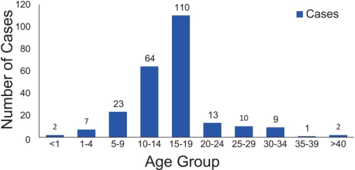 Number of reported rubella cases by age group.
