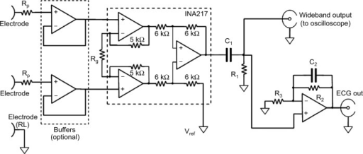 schematic of the wideband biopotential amplifier abbrev