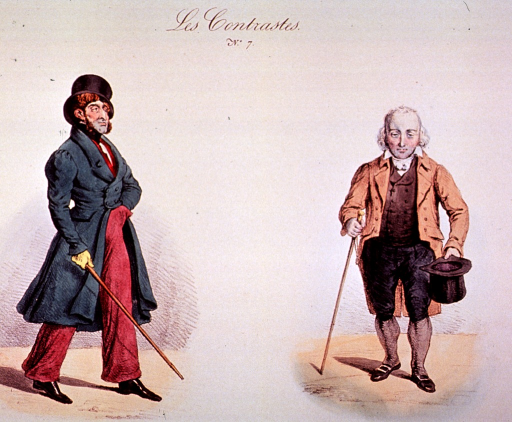 <p>Two men showing various styles of dress.</p>