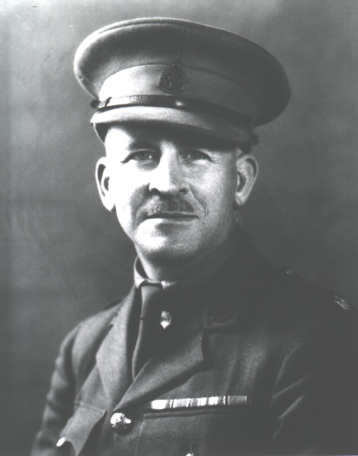 <p>Head and shoulders, full face, wearing uniform and cap (Major, British Medical Corps).</p>