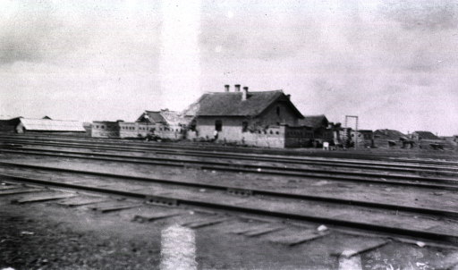 <p>A view of the railraod block house situated beside the tracks.</p>