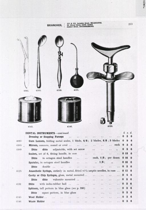 <p>Syringes, mirrors, wool and waste holders, and gum lancets are shown.</p>