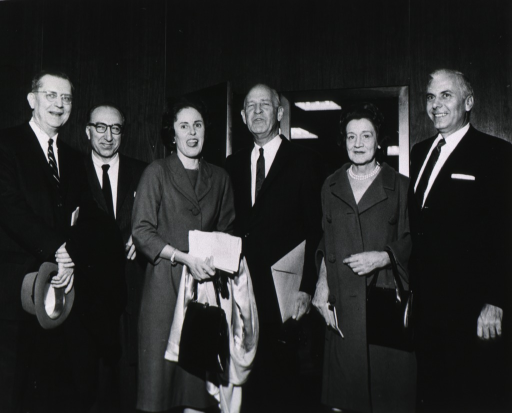 <p>From left to right: Champ Lyons, Dr. Michael DeBakey, Mary Lasker, Lister Hill, Henrietta McCormick Hill, and Boisfeullet Jones at the National Library of Medicine Dedication Ceremony, December 14, 1961.</p>