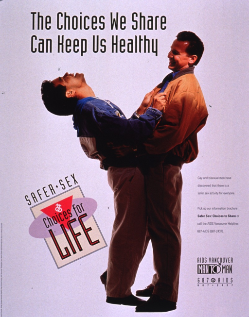 <p>White poster with a photo reproduction showing a male-male couple dressed in casual clothes. They have their arms around each other and one of them is leaning back, laughing. The text of the poster advertises a brochure entitled Safer sex : choices to share, put out by AIDS Vancouver, Man to Man, for gay and bisexual men. The publishing and contact information are at the bottom of the poster.</p>
