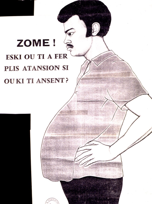 <p>White poster with black lettering.  Title in upper-left portion of poster.  Visual image is an illustration of a man with a distended belly, as if he were pregnant.  Title asks about paying more attention if you (i.e., the man) got pregnant.  Partial stamp in lower left corner bears the phrase &quot;Population and famil.&quot;</p>