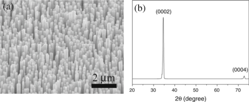 a A SEM image and b XRD pattern of vertically aligned ZnO nanowire array grown on the ZnO seed film.
