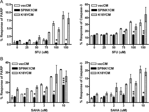 Induction of resistance to chemically induced apoptosisParental MCF-7 cells were pretreated with vecCM (white bars), WT SPINK1CM (black bars) or mutant K18YCM and then exposed to drugs for 24 h. Apoptosis was measured via activated PARP (left panels) and activated caspase-3 (right panels) levels. (*p < 0.005; **p < 0.05; ***p < 1E−05).5-FUSAHA