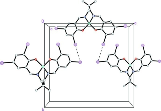 The crystal packing of the title compound viewed along the c-axis, showing how the molecules are linked via the intermolecular I···I interactions (dashed lines) to form chains along the a axis [the H atoms have been omitted for clarity].
