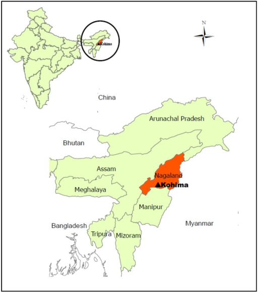 Situation map of North East India, Nagaland and Kohima, Nagaland's capital.