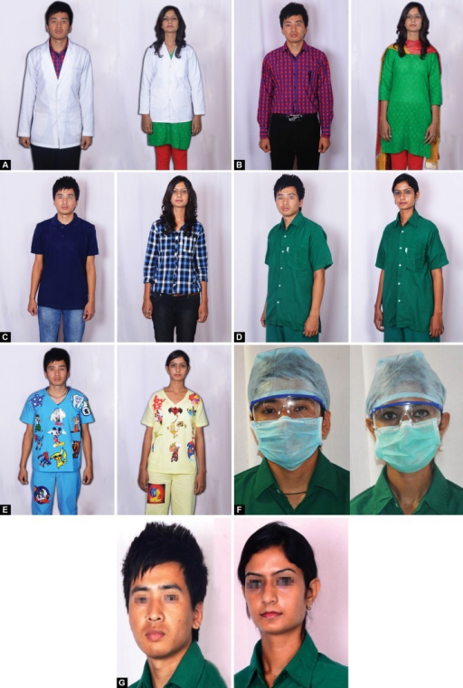 (A) Traditional white coat, (B) Formal attire, (C) Casual attire, (D) Professional attire, (E) Child friendly attire, (F) Dental student with protective gear, (G) Dental student without protective gear