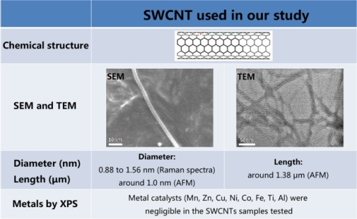 Characterization of SWCNTs. These characterization data indicated that the quality of these SWCNTs perfectly met the requirements of the experiments. SWCNTs indicate single-walled carbon nanotubes.
