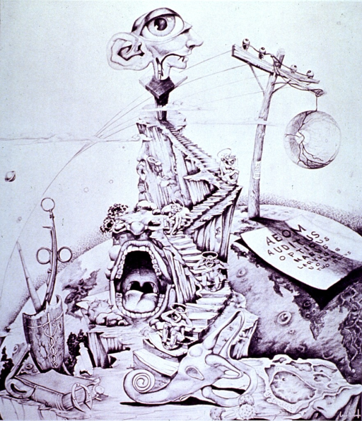 <p>Surrealistic repersentation of the medical specialist showing attributes of the eye, ear, nose, and throat specialists.</p>