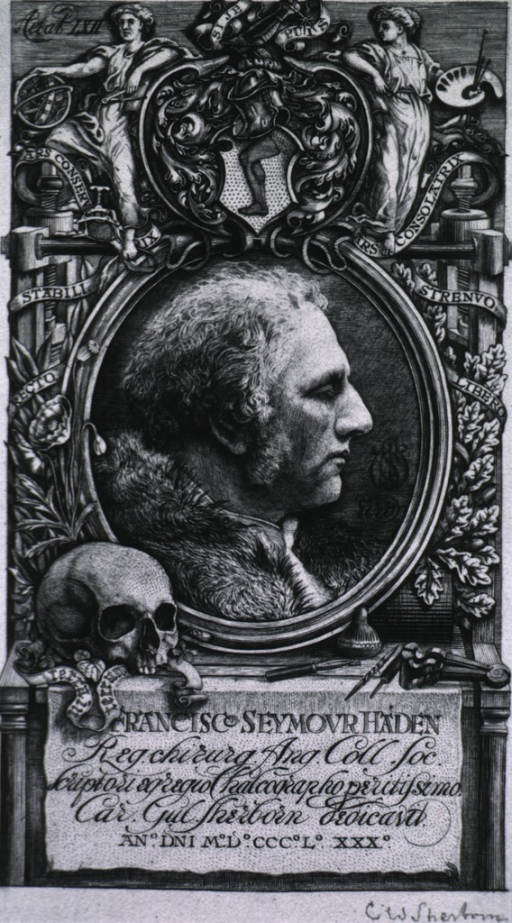 <p>Head and shoulders, right profile; in circle with elaborate border; skull in foreground.</p>