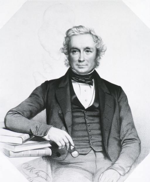 <p>Half-length, seated, full face; arm resting on books on table; holding spectacles.</p>