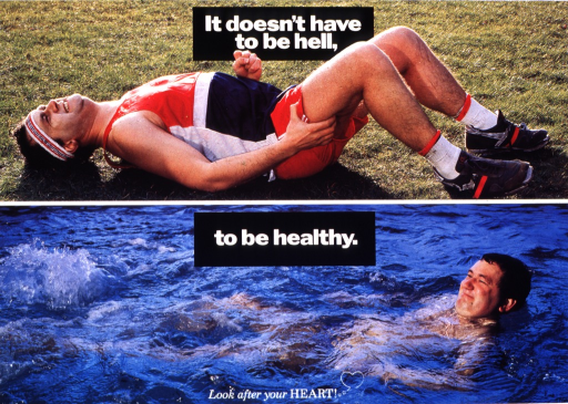 <p>Multicolor poster with white lettering.  Initial title phrase at top of poster.  Visual images are color photo reproductions.  Near top of poster, a photo features a man in running clothes.  The man is lying on the ground, grimacing and clutching his leg.  Remaining title text at center of poster, superimposed on a photo of a man who smiles as he floats on his back in a pool.  Note at bottom of poster.</p>