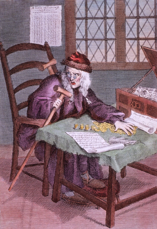 <p>Seated at table, right pose, looking left; counting gold coins.</p>