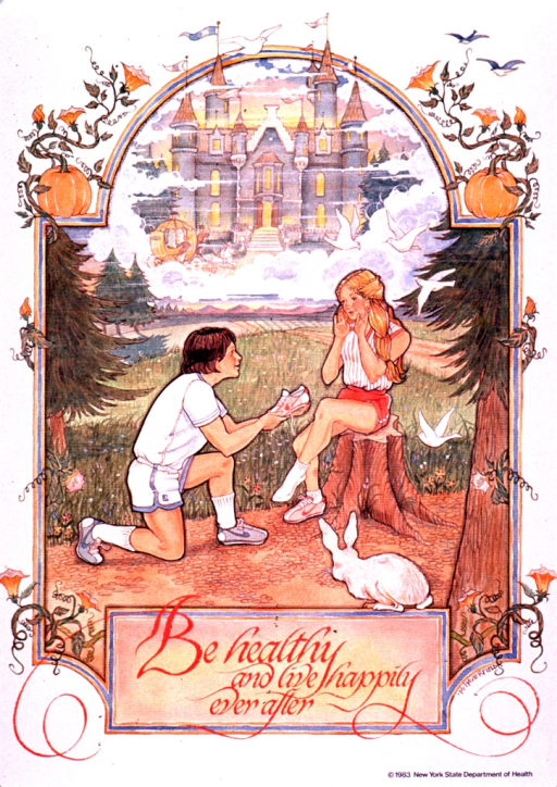 <p>Multicolor poster with red and black lettering.  Visual image is an illustration of a boy and girl in a wooded setting.  The boy is down on one knee, offering the girl a running shoe.  Both are dressed as if for a sport or vigorous activity.  A castle appears in the background.  The illustration is surrounded by tendrils, flowers, and two pumpkins.  Title below illustration.  Publisher information in lower right corner.</p>