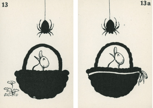 <p>A pair of strabismus diagnostic and exercise cards in black and white.  The card to the left, 13, has the image of a duckling in a basket looking up to a spider hanging from a string with a flower next to the basket; the card to the right, 13a, has the image of a duckling in a basket looking up to a spider hanging from a string with a ribbon tied around the basket.  Stereoskopische Bilder fur schielende Kinder.</p>