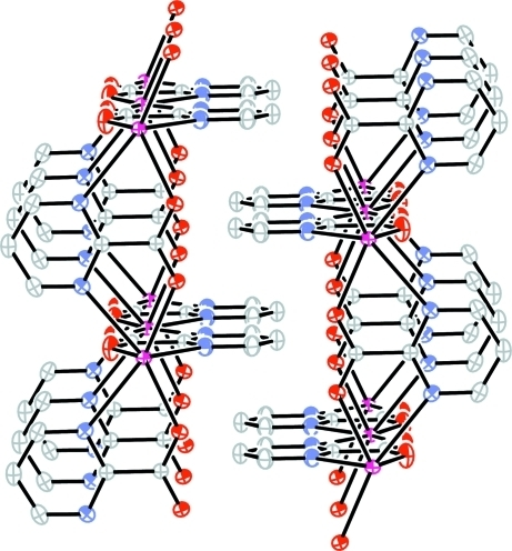 A diagram showing π-π stacking between parallel pyrimidine rings of adjacent polymeric sheets.