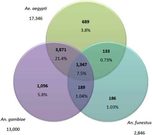 Venn diagram showing distribution of similarity search results.Numbers are the sum of unique contigs matching An. gambiae, Ae. aegypti and An. funestus and given with their relative percentage.