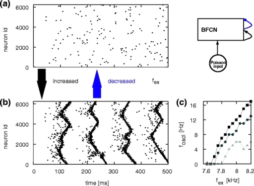 Activity state transition in the BFCN with global inhibition, network set-up top right. (a) Spiking activity in the BFCN plotted with an external excitatory Poissonian input of fex = 7.65 kHz to each neuron and . Activity of 10% of the neurons is shown. (b) As in (a) but for fex = 7.9 kHz (c) Oscillation frequency of synfire waves as a function of the rate of the external Poisson input for different values of global inhibition:  (black squares),  (dark gray disks),  (light gray triangles)