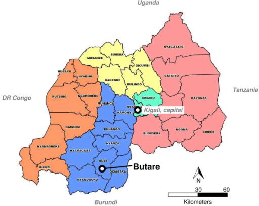 Rwanda administrative map with Butare location Map di Openi