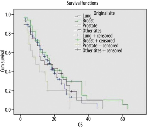 Survival curves of patients with different primary cancers.