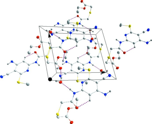 Packing projected down the b axis showing the inter- and intramolecular hydrogen bonds as dashed lines.
