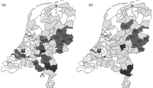 Spatial distribution of mutations at codon 139 of the Vkorc1 gene in R. norvegicus in the Netherlands, based on dropping samples. The grey areas are regions with reliable genotyping results. A: the light-grey areas are regions with heterozygous Tyr-Cys genotypes, and the dark-grey areas are regions with heterozygous Tyr-Phe genotypes. B: the light-grey areas are regions where homozygous Tyr-Cys genotypes were encountered, and the dark-grey areas are regions where homozygous Tyr-Phe genotypes were found. Numbers in parentheses show the number of positive specimens in that area.