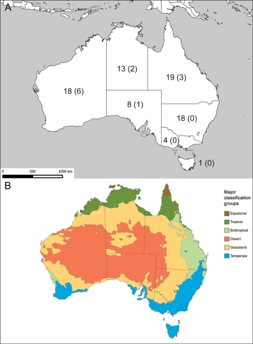 Species diversity compared to climate zones. A the numbers indicate how many different Sphex species were found in each of the Australian federal states (ACT not included); numbers in brackets depict how many of these are endemic to the state B Australian key climate groups based on a modified Köppen classification system; image source: Australian Government Bureau of Meteorology (Commonwealth of Australia 2014).