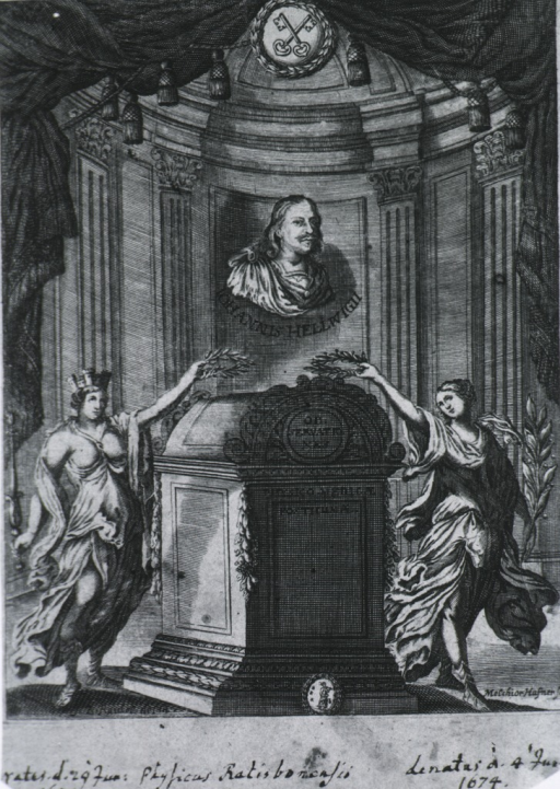 <p>Head and shoulders, right pose, full face; two figures around a sarcophagus inside a mausoleum.</p>