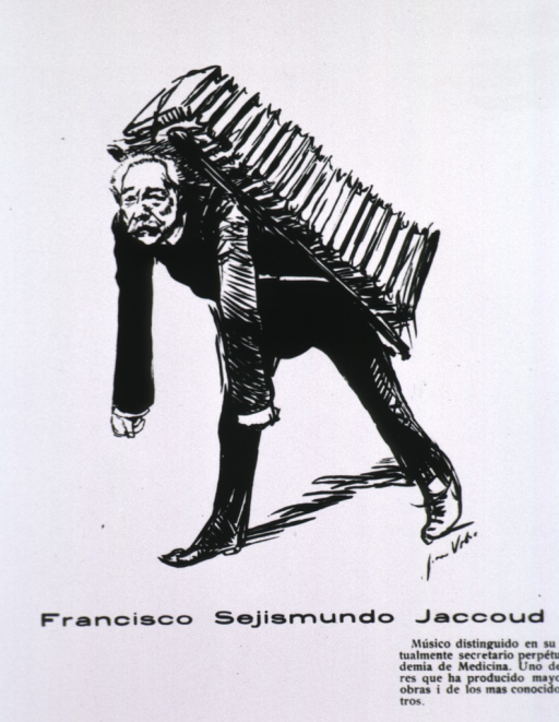 <p>Caricature:  full length, struggling under the burden of many books strapped to his back; full face.</p>