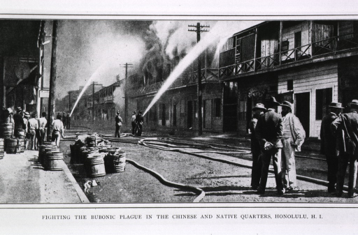 <p>Fighting the bubonic plague in the Chinese and native quarters, Honolulu, HI. Street scene showing fireman controlling destruction of suspected houses.</p>