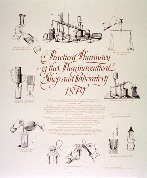 <p>Cream poster with brown lettering.  Title in center of poster with lengthy caption below.  Caption describes an early textbook illustrated with wood engravings and gives a brief biography of William Proctor, Jr.  Visual images are b&amp;w reproductions of several engravings from the book, including methods for measuring, weighing, knotting, and decanting, devices for making tinctures and distillation, and a mortar and pestle.  Publisher information in lower right corner.</p>