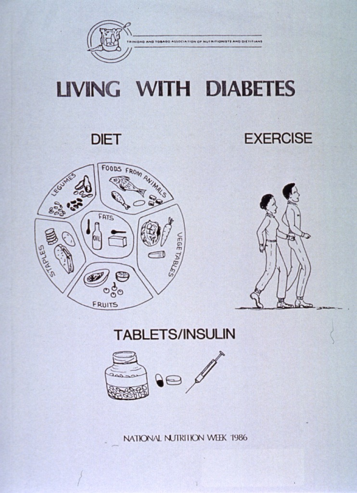 <p>Pale green poster with black lettering.  Publisher information at top of poster.  Title below publisher information.  Visual images are illustrations of food groups (diet), two people walking (exercise), and pills and a syringe (tablets/insulin).  Note at bottom of poster.</p>