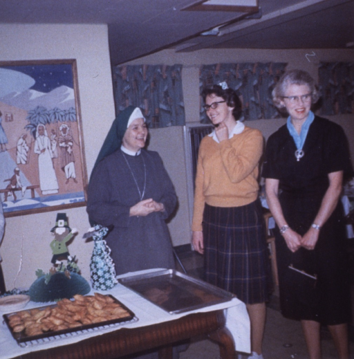 <p>With Sister Catherine Patrick and Barbara Heins at a party at La Casita.</p>