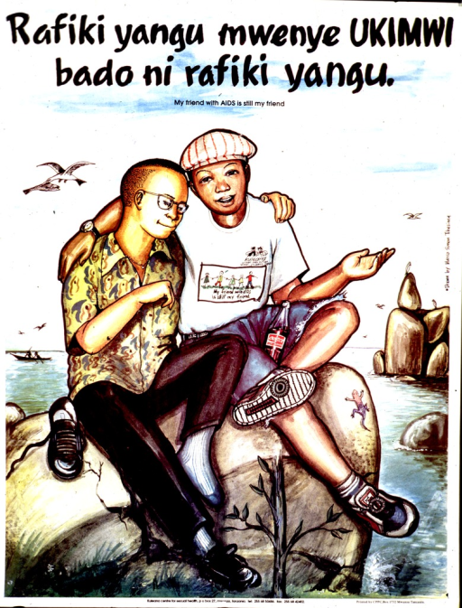 <p>Multicolor poster with black lettering.  Title in Swahili and English at top of poster.  Poster appears to be a reproduction of a watercolor painting.  It depicts two young men sitting together on a rock.  A body of water is in the background.  Publisher information at bottom of poster.</p>