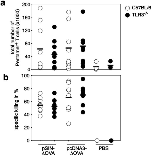 The induction of CTL responses in vivo takes place independent of TLR3-mediated activationC57BL/6 and TLR3-/- mice were vaccinated with 50μg of replicon (pSIN-ΔOVA) or conventional plasmid (pcDNA3-ΔOVA) DNA intramuscularly. Anti-CD40 antibody was injected i.p. to boost immunization. Expansion of antigen-specific T cells was determined by Pentamer staining (a) and antigen-specific killing of target cells was assessed by in vivo CTL assay (b) 21 days after vaccination. The results represent pooled data from two independent experiments.