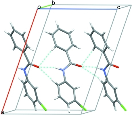 Crystal packing for (I) viewed along the b axis with hydrogen bonds drawn as dashed lines.