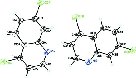 A view of the title compound, C9H5Cl2N, showing atom numbering scheme and the two molecules in the asymmetric unit.