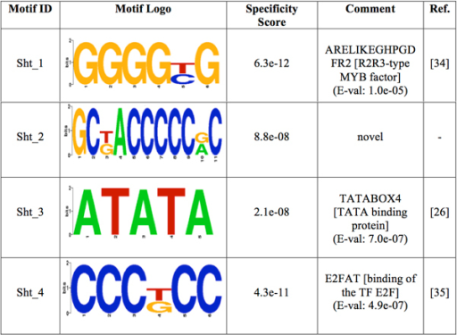 Logos of the over-represented motifs in shoot. For each motif, its group specificity score and a comment is included. A known motif is also depicted with an E-val from the STAMP website application [24], a description of the TF binding to it and its reference.