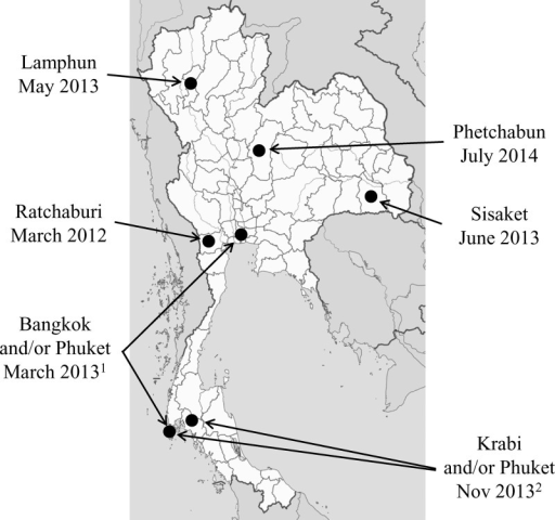 Map of Thailand showing locations of confirmed Zika virus (ZIKV) infections. 1ZIKV infection in Canadian traveler to Bangkok and Phuket provinces.112ZIKV infection in German traveler to Phuket and Krabi provinces.12