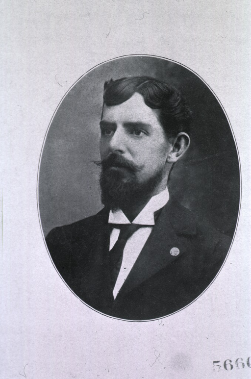 <p>Head and shoulders, beard and mustache, in oval.</p>