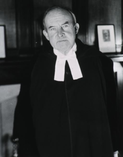 <p>Half length, standing in paneled room wearing academic robes, full face.</p>