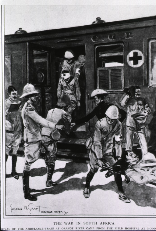 <p>The war in South Africa: arrival of the ambulance train at Orange River camp from the field hospital at Modder River.</p>