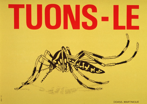 <p>Yellow poster with title in bold red lettering.  Black and yellow drawing of a mosquito dominates poster.  Publisher name and location in black lettering, lower right corner.</p>