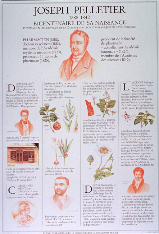 <p>White poster with black lettering.  Title and note at top of poster.  Poster dominated by text describing Pelletier's life and accomplishments.  Many accomplishments involve deriving substances from plants.  Visual images are pastel drawings, predominantly of people--Pelletier, Caventou, Alfred Houde, Francʹois Magendie--and plants--vomica, veratrum, colchicum, quinine, poppy, ipecac.  Drawings are scattered across the poster.  Publisher and sponsor information at bottom of poster.</p>