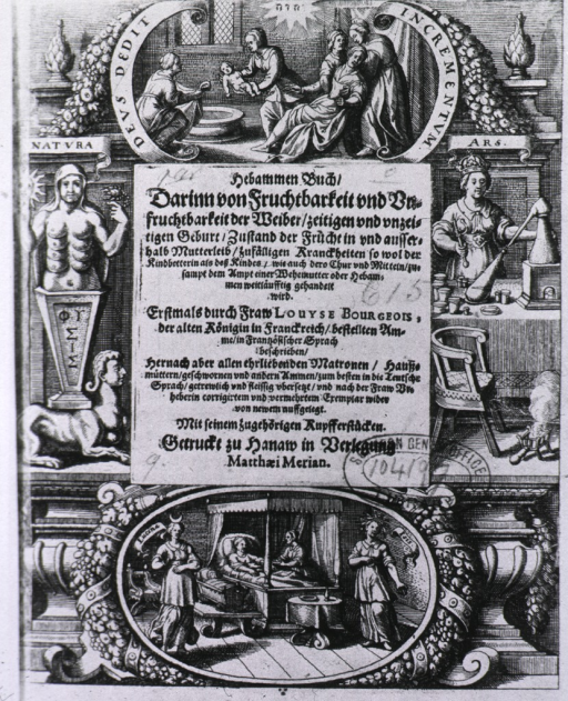 <p>Title page with several vignettes of midwives.</p>