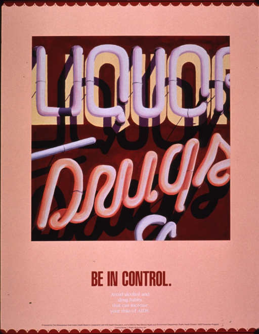 <p>Predominantly peach poster with multicolor lettering.  Visual image is an illustration of a neon sign advertising liquor and drugs.  Title and caption below image.  Publisher and sponsor information at bottom of poster.</p>